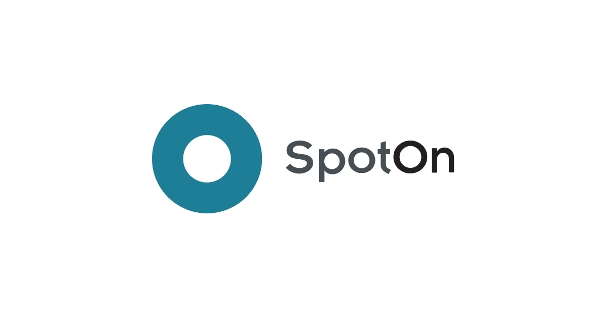 SpotOn logo. It features a dark turquoise circle with the branding SpotOn in a sans-serif font.