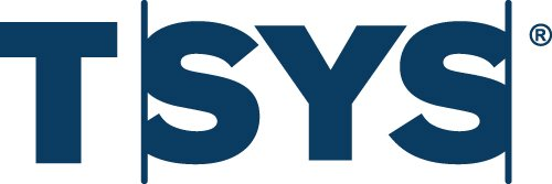 TSYS logo. It has bold, navy colored letters and says 'TSYS'