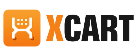 X-Cart logo. It has an orange X with Cart on it written it in black, with a white shopping card icon.